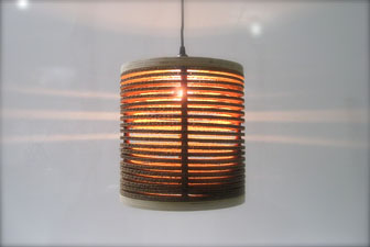 Born again creations recycled cardboard drum lampshades according to owner joe manus shiners goal is to transform tons of landfill destined materials into killer design by building heirloom pieces out of aloadofball Images