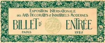Billet d'entée à l'expo 1925