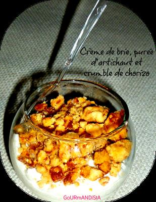 Image Verrine à la crème de brie, purée d'artichaut et crumble de chorizo
