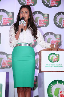 Amala Paul in Lovely Green Mini Skirt and White Shirt at Iddarammayilatho audio launch