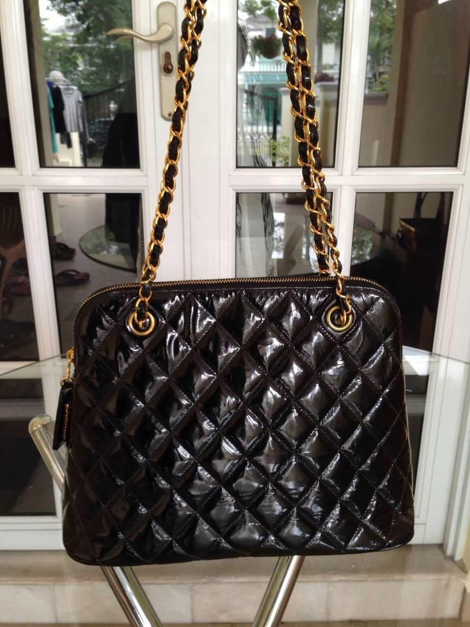 0fcfda9934 Authentic CHANEL Quilted CC Logo Chain Shoulder Bag Black Patent Leather