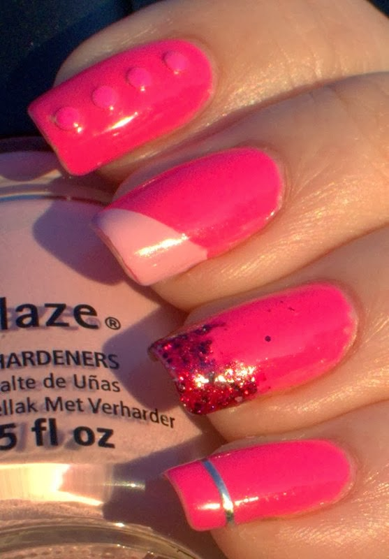 Kmart Pink Minx with neon studs, taping tip, striping tape and glitter gradient accent nail