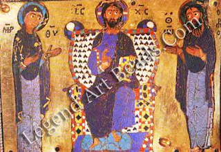 Christ Mary and john byzantine cloisome work detail of the praxdies reliquary tenth century Vatican library Rome