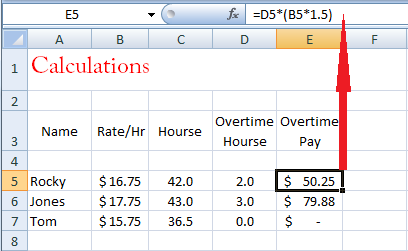 in the first formula will perform the calculation of overtime pay overtime hourse at times with the rate so that the result value must be issued