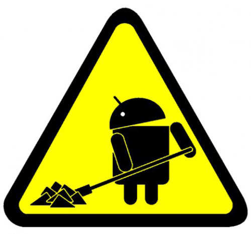 a-yellow-triangle-with-android-logo-working-with-a-shovel