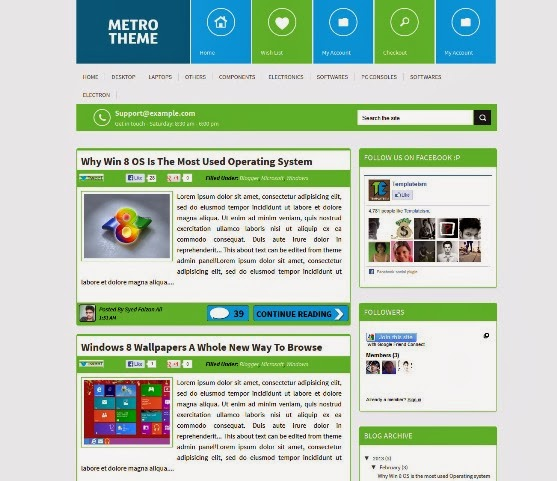 Metro UI Blogger Template