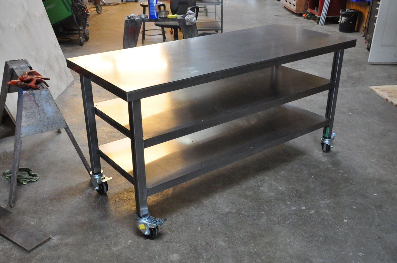 i recently wrapped up a workbench and a pair of tables for the wonderful folks over at fathom - Rolling Workbench