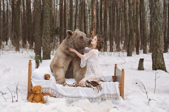 Russian model posing with real bear-4