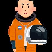 与圧服を着た宇宙飛行士のイラスト(男性)