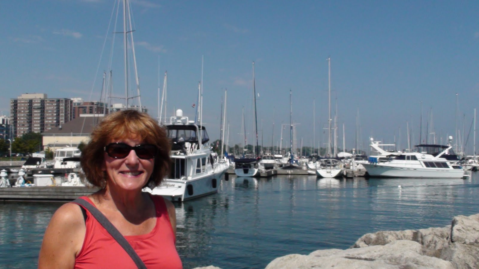 Liz taking in the sights in the harbour.