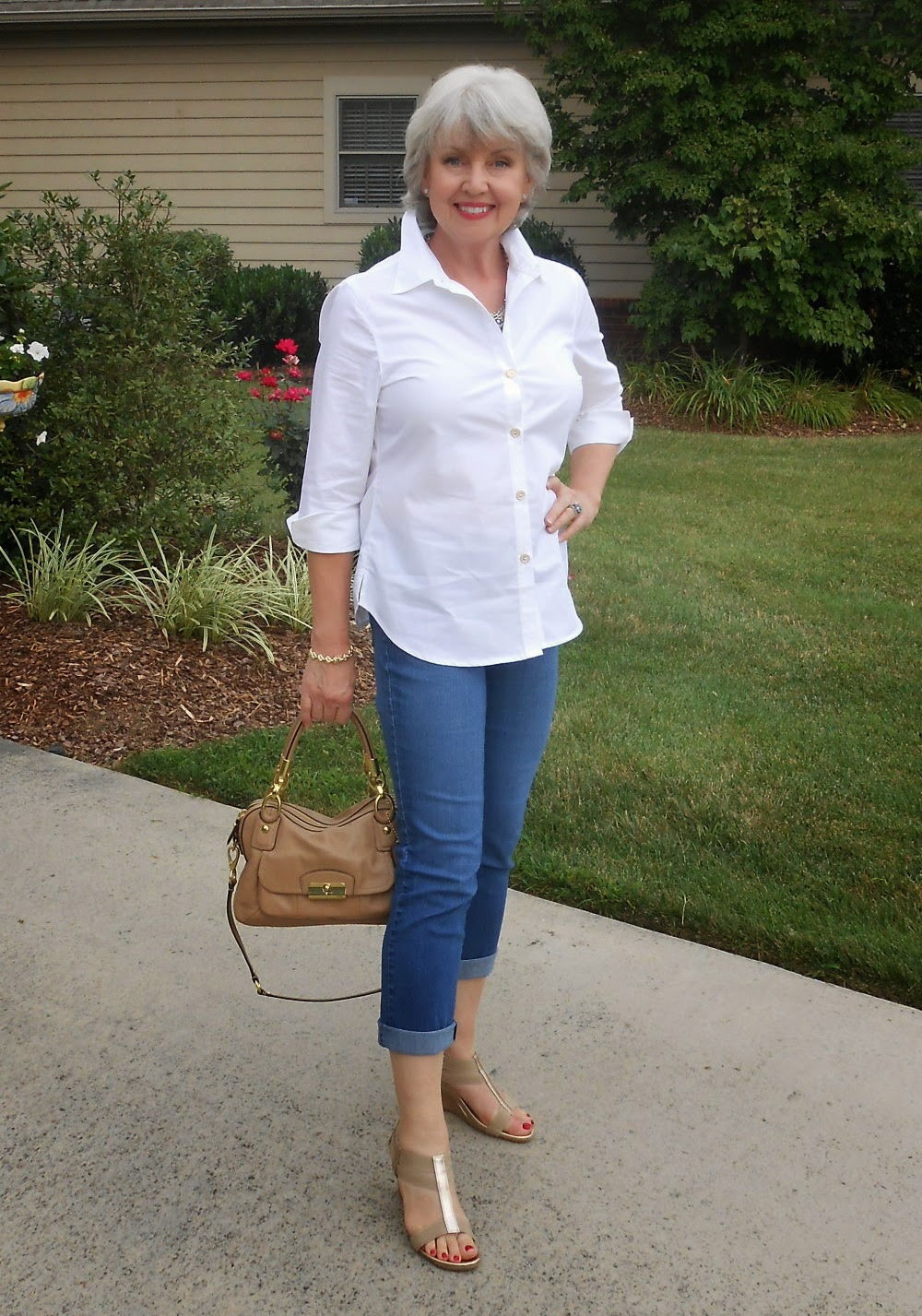 Fifty not frumpy white shirt and jeans for White pants denim shirt
