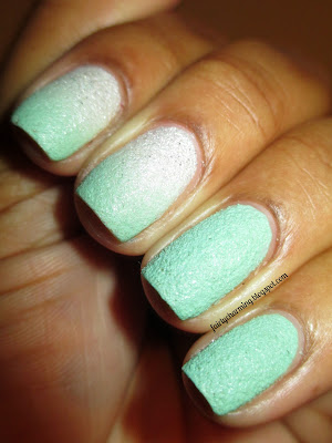 OPI Solitaire, Sally Hansen Sour Apple, white, mint, textured, ombre, nails, nail art, nail design, mani