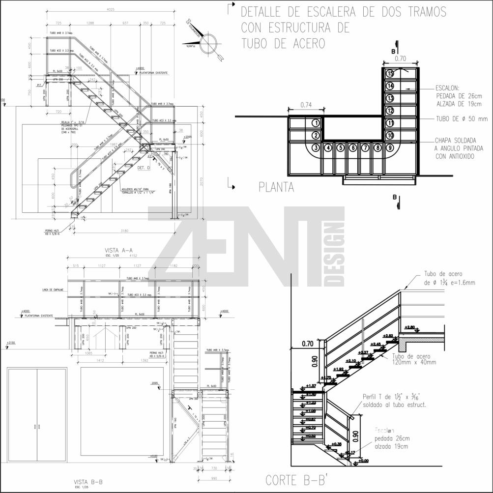 Escaleras metalicas planos metal stairs zent design 2d for Planos de departamentos de 40m2