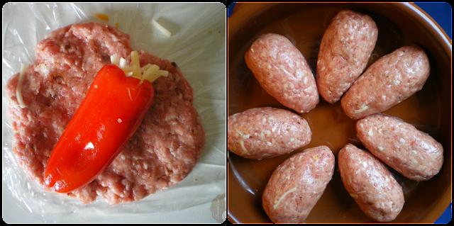 """""""Ovillo"""" de carne relleno de pimiento con queso: Elaboración, paso 2"""