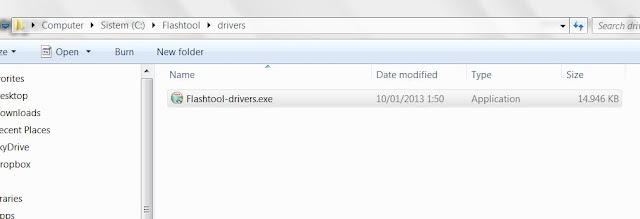 Letak file driver flashtool