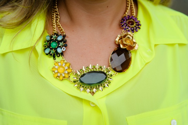 J Crew Blythe Blouse in Silk, Banana Republic Mixed Pop Stone Necklace