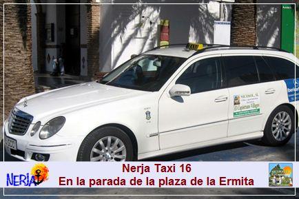 Nerja taxi 16 - Me podrá encontrar en la Parada de Taxis número 1 de Nerja, situada en la Plaza de la Ermita.