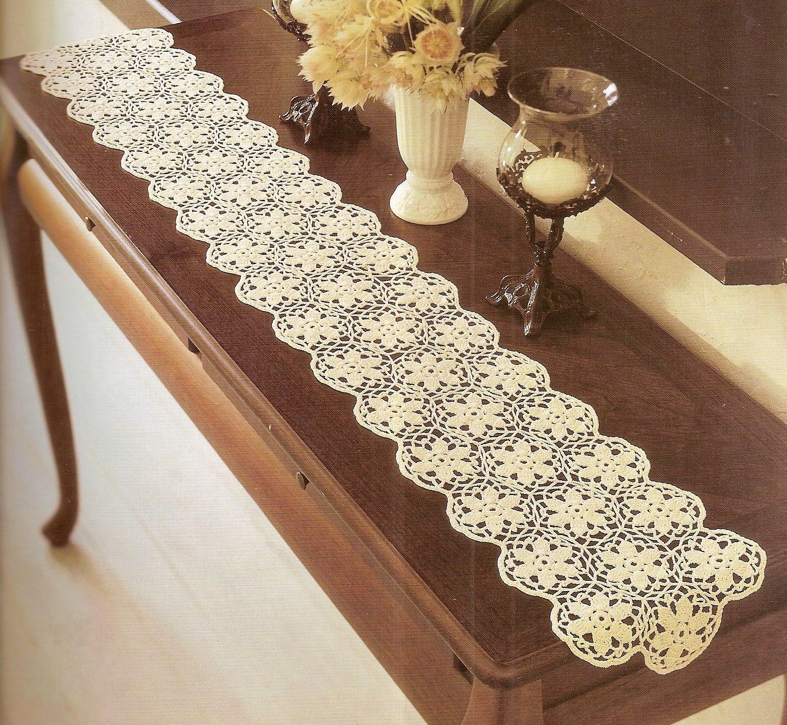 caminhos de mesa em croche em croche com receita