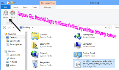 Computer Tips: Mount ISO images in Windows 8 without any additional third-party software