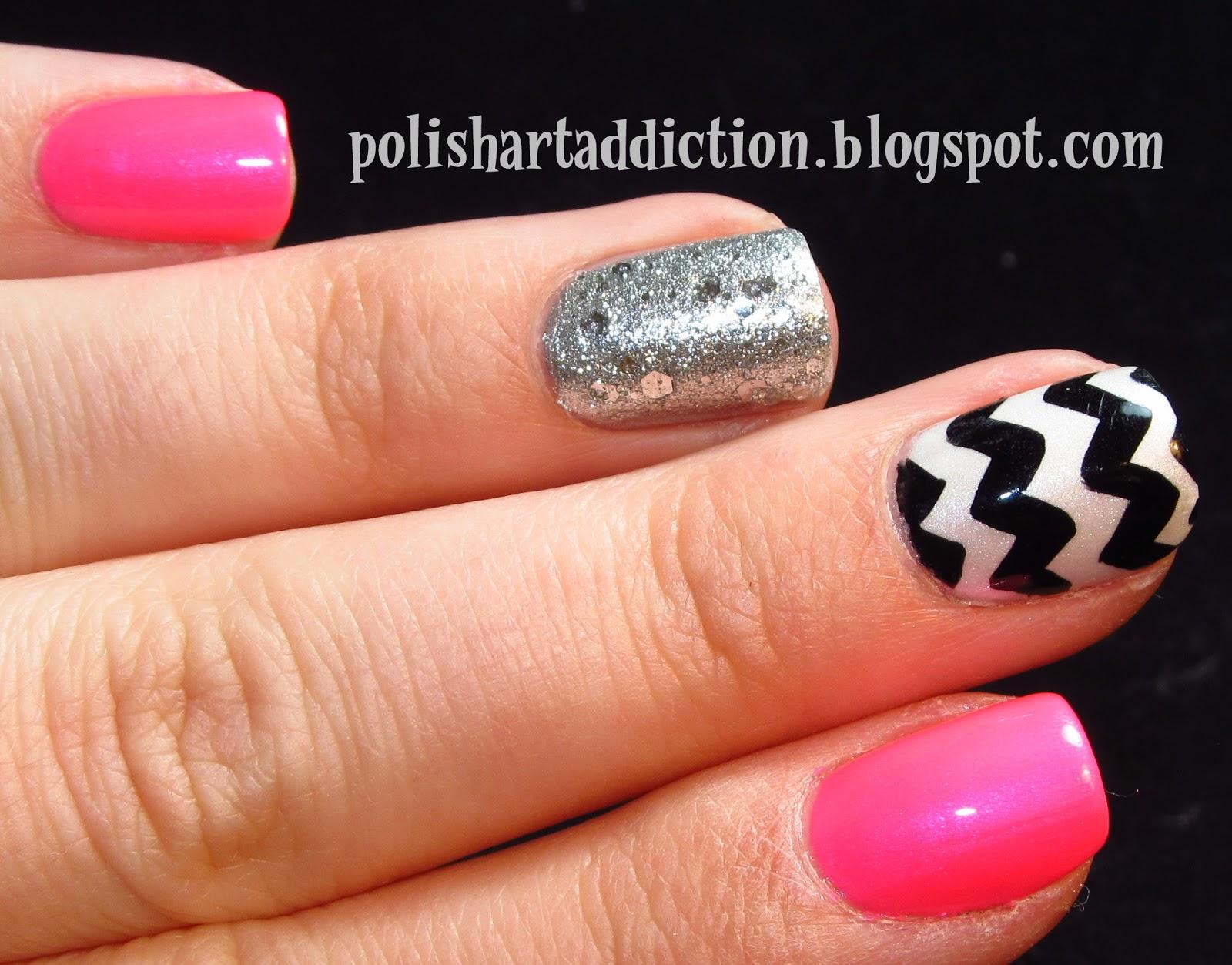 Hot Pink Chevron Nail Designs Chevron nail art day 2