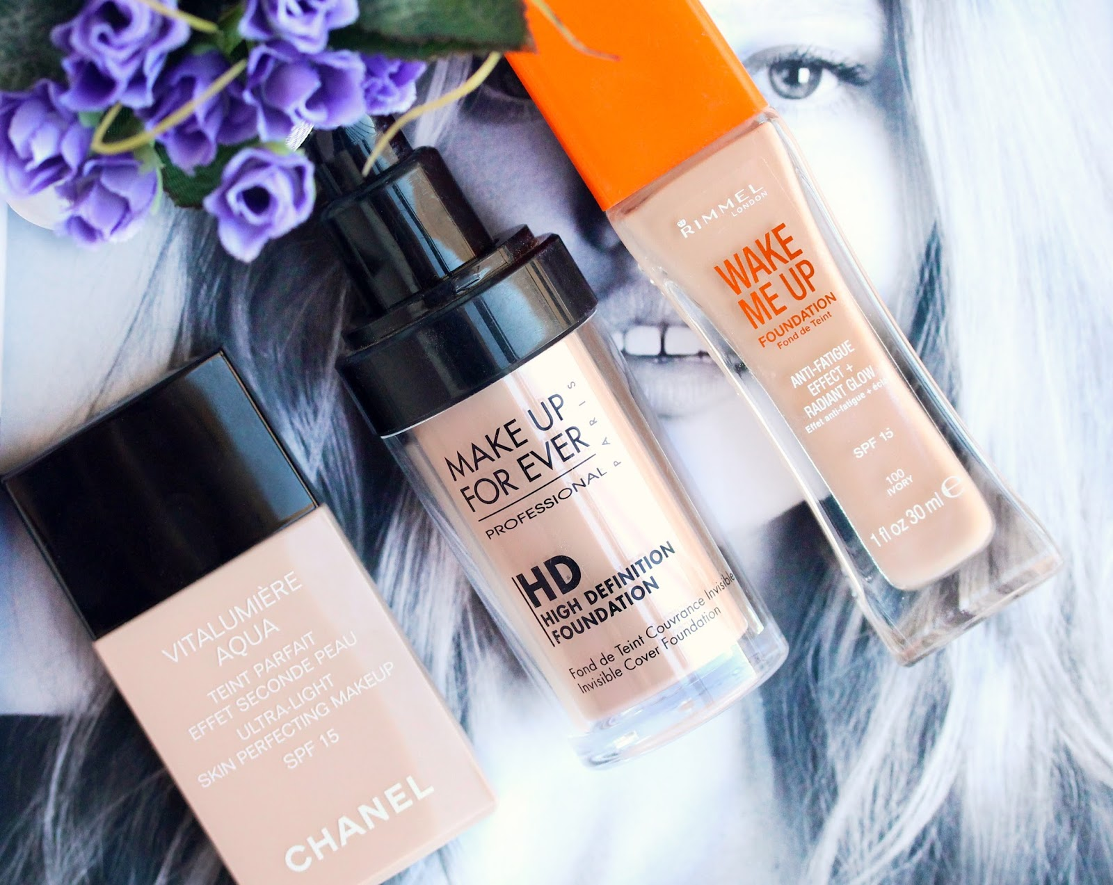 winter foundations chanel vitalumiere aqua, rimmel wake me up, Make Up For Ever HD Invisible Cover