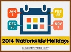 2014 Nationwide Holidays