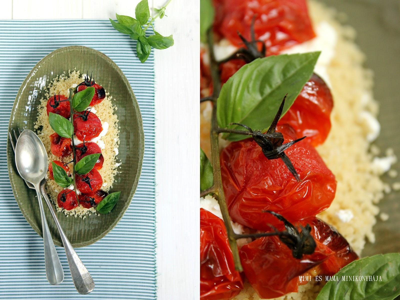 Grillezett paradicsomos kuszkuszsaláta fetamorzsával