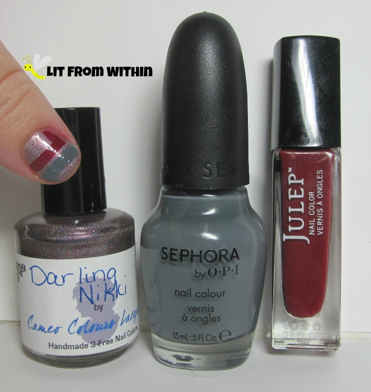 Bottle Shot:  Cameo Colors Lacquer Darling Nikki, Sephora by OPI Break a Leg Warmer, and Julep Anisa.