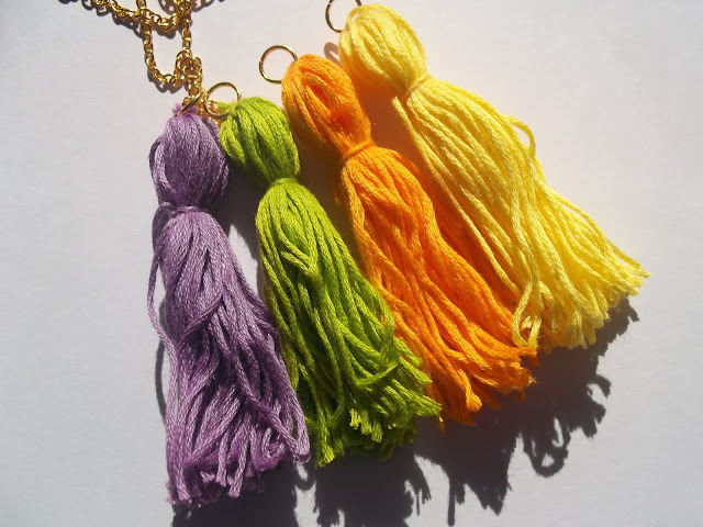 diy handmade tassel necklace interchangeable orange yellow green purple gold