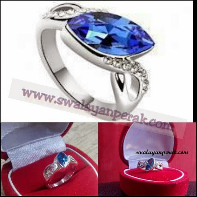 Model cincin nikah simple palladium permata biru