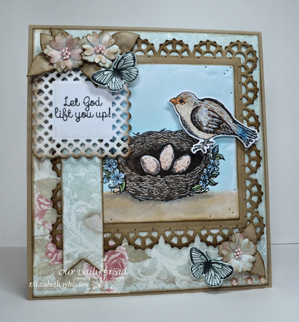 Our Daily Bread Designs, Spread Your Wings, Butterfly and Bugs, Birds and Nest, Layered Lacey Squares, Pennants, Shabby Rose Paper Collection, Designed by Elizabeth Whisson, Copics