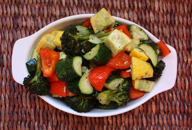 Roasted Bell Peppers, Broccoli and Squash recipe by Barefeet In The Kitchen