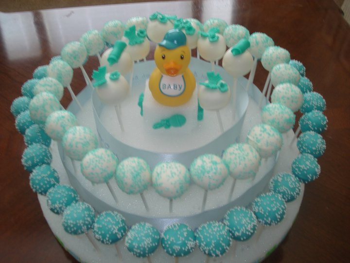 Jessicakes project baby boy baby shower 3 tier cake for Pop cake decoration