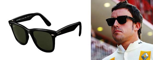 Ray Ban Wayfarer y Fernando Alonso con gafas Ray Ban Wayfarer