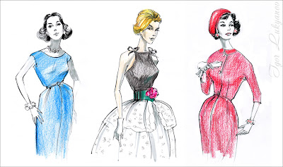 moda vintage, dibujos estilo moda vintage