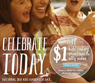 caribou coffee $1 kids coolers, smoothies, and silly sodas august