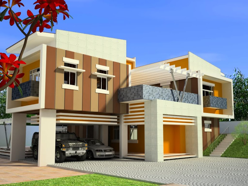 Foto de diseño de casa moderna y elegante con autos elegantes  title=