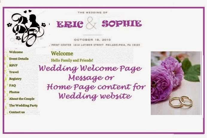Wedding Site Welcome Page/ Home Page Writing Service