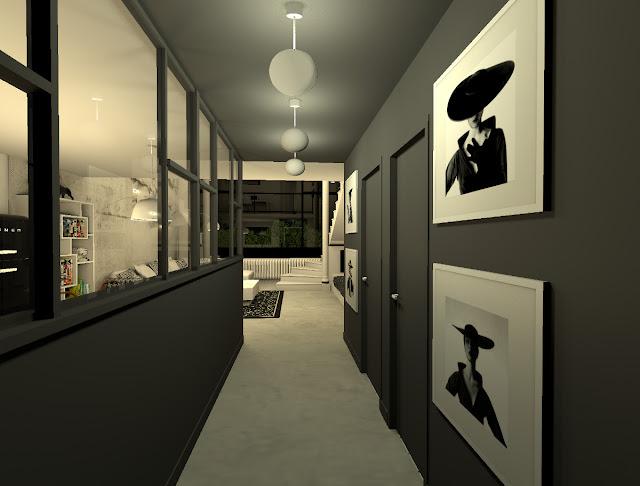 deco couloir noir et blanc entree couloir noir et blanc carreaux
