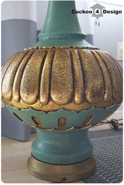huge gold and turquoise table lamps