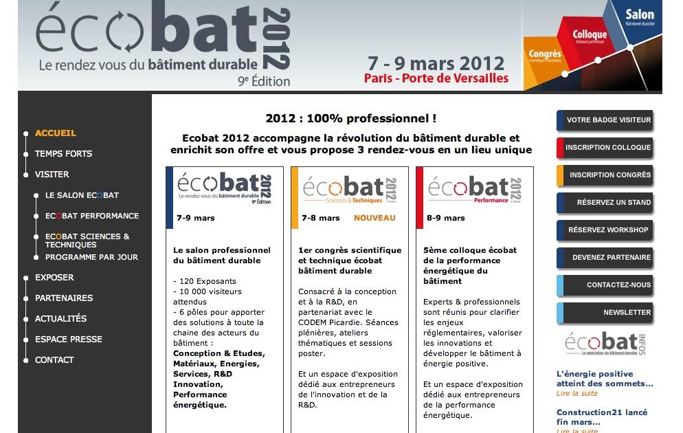 Ecobat salon du b timent durable architecte maison bois for Salon professionnel batiment
