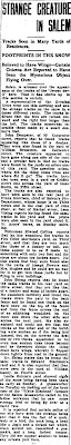 Strange Creature in Salem - Bridgeton Evening News 1-21-1909