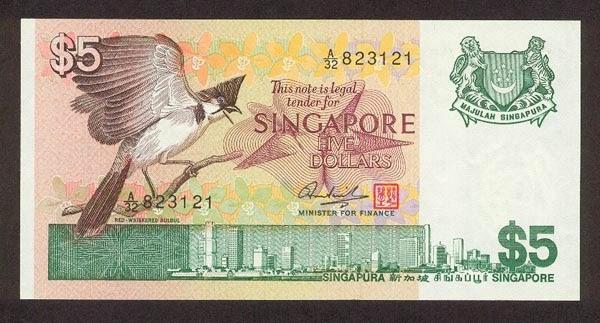 Singapore 5 Dollars banknote Bird Series