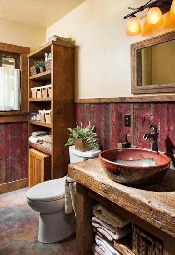 Baños Diseno Rustico:El revestimiento del suelo en un baño rústico puede ser en terracota
