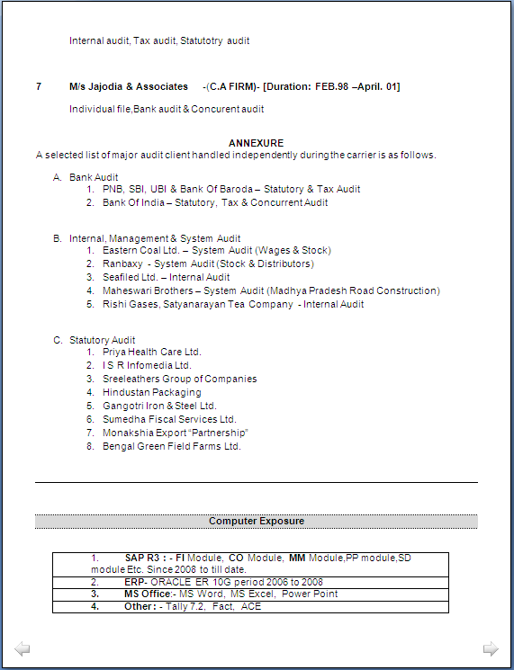 resume sample ca inter master of commerce having 15 years rich