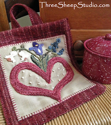 """""""Love Letters"""" Hanging Wall Pocket Punch Needle desgin by Rose Clay"""