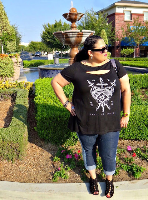 torrid, tarot card top, plus size fashion, cid style file, 40 plus style, INC, MIA shoes, macys, coach, baby g shock, hellz bellz