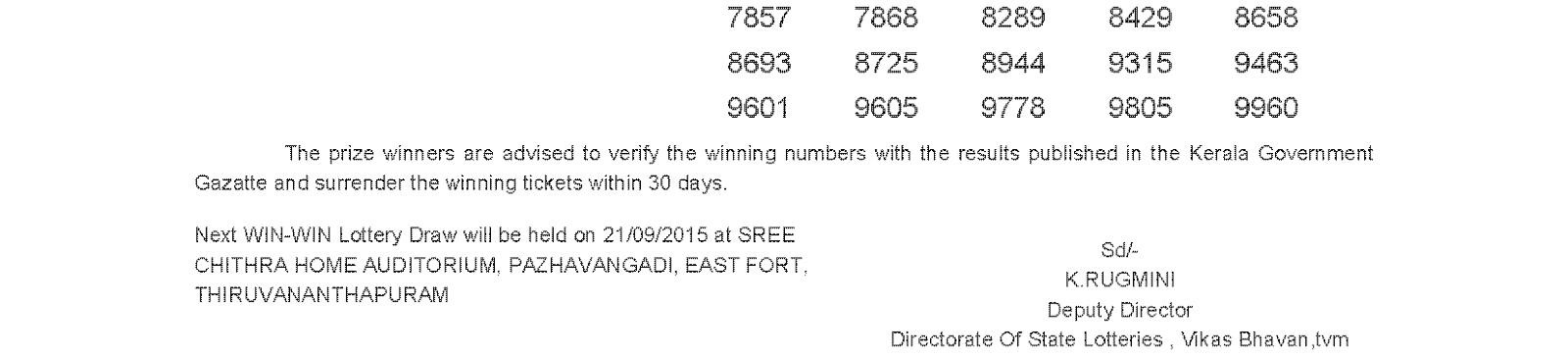 WIN WIN Lottery W 325 Result 14-9-2015
