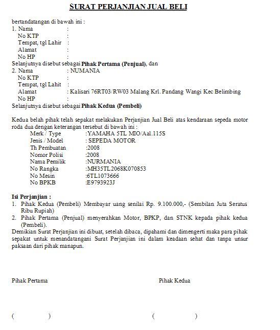 Surat Perjanjian Jual Beli [ www.BlogApaAja.com ]