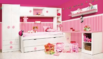 Habitacion juvenil lacada blanca combinada con tirador rosa for Mueble puente juvenil